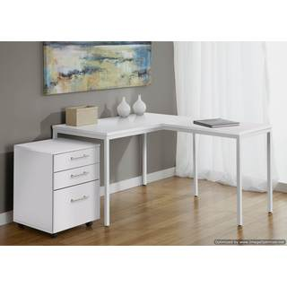 White L Shaped Desk With Frosted Glass 15646566