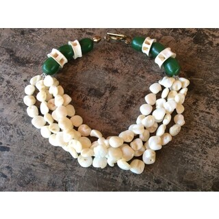Sally Bass Origonal Polished Mother of Pearl Shell Beads-Nugget Necklace (Refurbished)