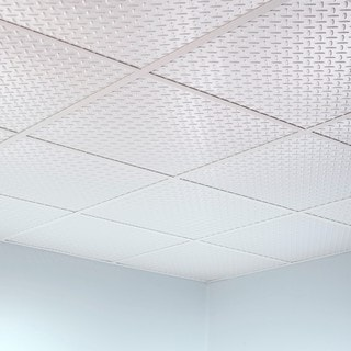 Fasade Diamond Plate Revealed Edge Gloss White 2-foot Square Lay-in Ceiling Tile