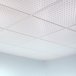 Fasade Diamond Plate Revealed Edge Matte White 2-foot Square Lay-in Ceiling Tile