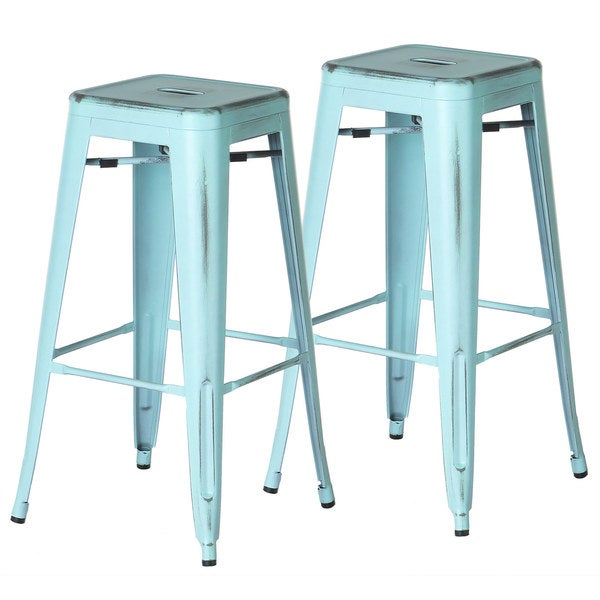 Polivaz Metal Bar Stools Premium Distressed Blue Set Of