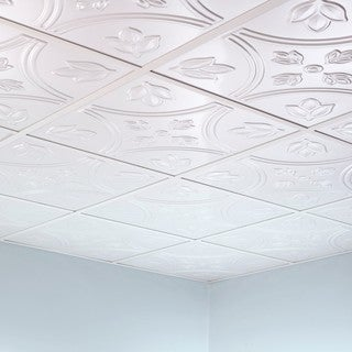 Fasade Traditional Style #5 Matte White 2-foot Square Lay-in Ceiling Tile