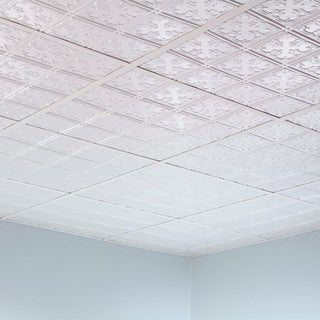 Fasade Traditional Style #10 Gloss White 2-foot Square Lay-in Ceiling Tile