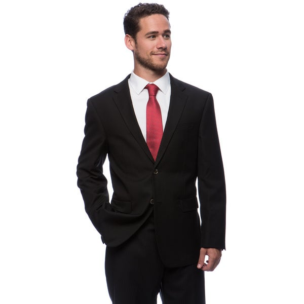 Prontomoda Europa Men's 'Super 140's' Black Natural Stretch Wool Jacket