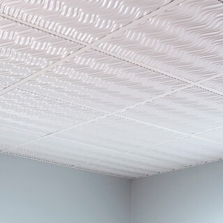 Fasade Current Gloss White 2-foot Square Lay-in Ceiling Tile