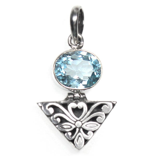 Ornate Oval Blue Topaz Sterling Silver Pendant