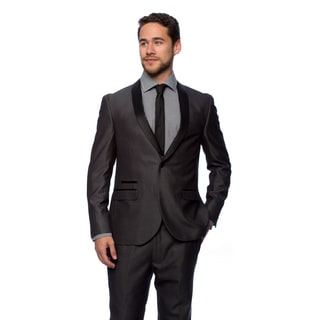 West End Men's Charcoal Young Look Slim Fit Collar Satin-Detailed Tuxedo