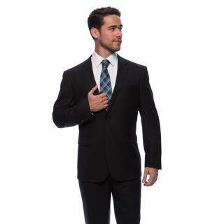 Prontomoda Europa Men's Black Birdeye Wool Suit