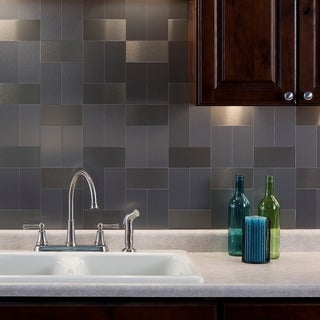 Aspect 3x6-inch Brushed Stainless Long Grain Metal Tile (8-pack)