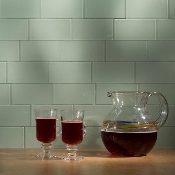 Aspect 3x6-inch Morning Dew Glass Tile (8-pack)