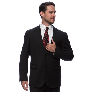 Prontomoda Europa Men's Black Herringbone Wool Suit