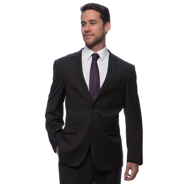 Prontomoda Europa Men's Charcoal Herringbone Wool Suit