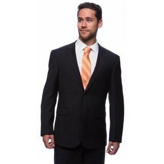 Prontomoda Europa Men's Navy Herringbone Wool Suit