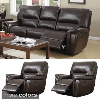 Providence Leather Air Sofa and Two Recliner Chair Set