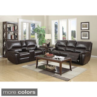 Providence Leather Air Sofa and Loveseat Recliner Set