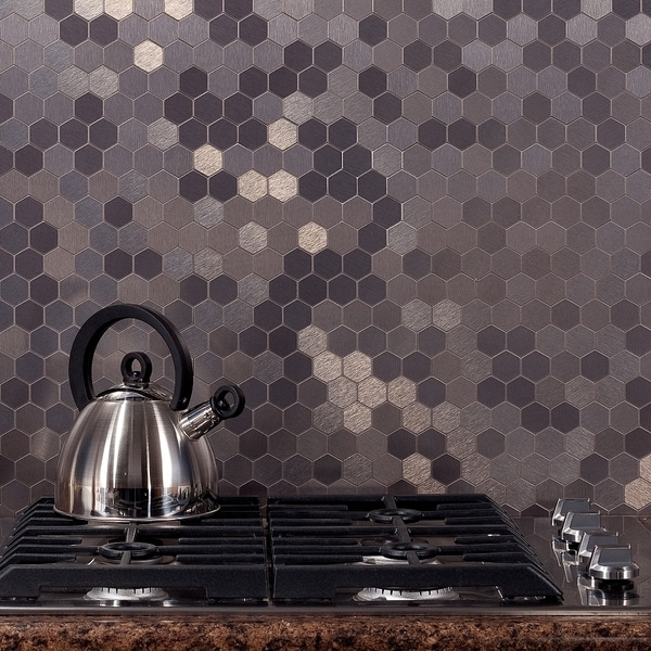 aspect 12x4 inch honeycomb stainless matted metal tile 3