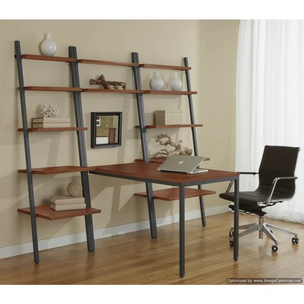 Leaning Ladder Desk with Bookcase in Cherry