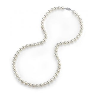 Radiance Pearl 14k Gold AAA Quality White Akoya Pearl Necklace (6-6.5mm)