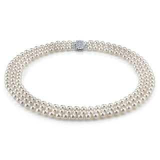 Radiance Pearl 14k Gold AAA Quality White Akoya Pearl Triple Strand Necklace (7-7.5mm)
