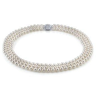 Radiance Pearl 14k Gold AAA Quality White Akoya Pearl Triple Strand Necklace (6.5-7mm)
