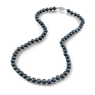 Radiance Pearl 14k Gold AAA Quality Black Akoya Pearl Necklace (6.5-7mm)