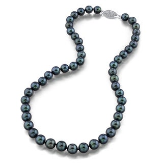 Radiance Pearl 14k Gold AAA Quality Black Akoya Pearl Necklace (7-7.5mm)