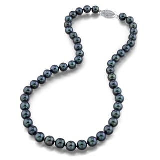 Radiance Pearl 14k Gold AAA Quality Black Akoya Pearl Necklace (7.5-8mm)