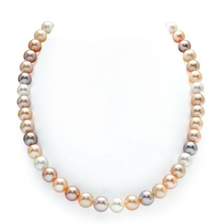 Radiance Pearl 14k Gold AAA Quality Pink Freshwater Pearl Necklace (9-10mm)