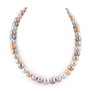 Radiance Pearl 14k Gold AAA Quality Pink Freshwater Pearl Necklace (10-11mm)