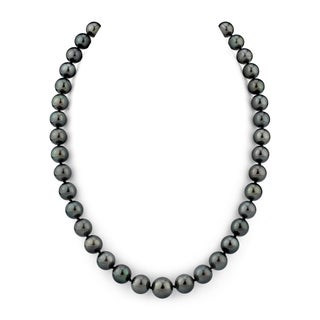 Radiance Pearl 14k Gold AAA Quality Black Tahitian South Sea Pearl Necklace (8-10mm)