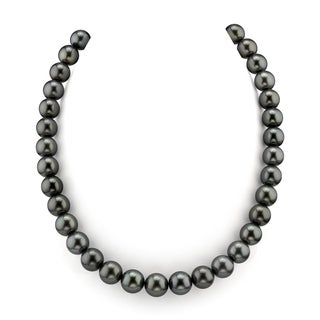 Radiance Pearl 14k Gold AAA Quality Black Tahitian South Sea Pearl Necklace (10-12mm)