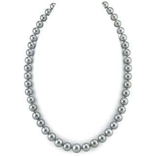 Radiance Pearl 14k Gold AAA Quality Silver Tahitian South Sea Pearl Necklace (9-11mm)