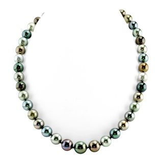 Radiance Pearl 14k Gold AAA Quality Multicolor Tahitian South Sea Pearl Necklace (9-11mm)
