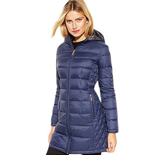 Michael Michael Kors Blue Gray Down Packable Puffer Coat