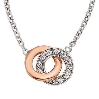 H Star Sterling Silver and Rose-plated 1/8ct TDW Diamond Double Circle Pendant (I-J, I2-I3)