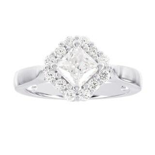 H Star Sterling Silver 1ct Diamagem Princess Halo Ring