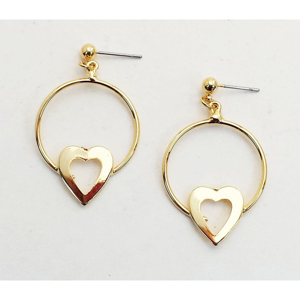 Gold-plated Hoop Earrings/ Heart