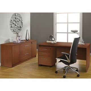 Jesper Office Executive Office Desk with Credenza in Cherry