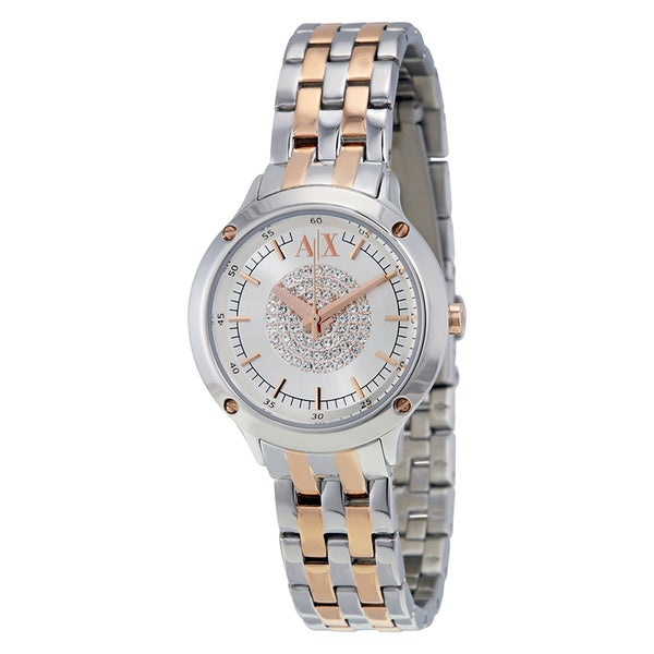 Armani Exchange Women's Crystal Pave Dial Two-Tone Stainless Steel Bracelet Watch AX5423