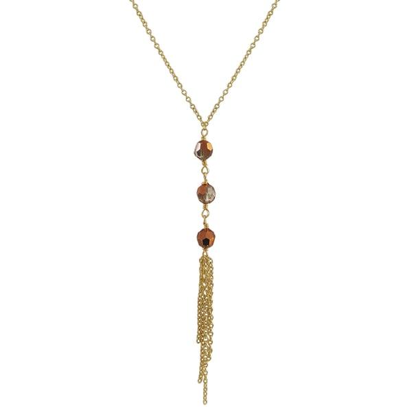 Gold Finish Preciosa Czech Crystal Beads Tassel Necklace