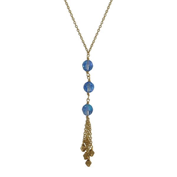 Gold Finish Preciosa Czech Crystal Beads Tassel Necklace