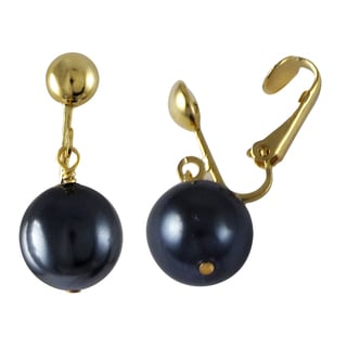 Gold Finish Faux Pearl Dangle Clip-on Earrings
