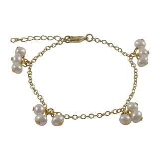 Gold Finish Children's Freshwater Pearl Link Bracelet