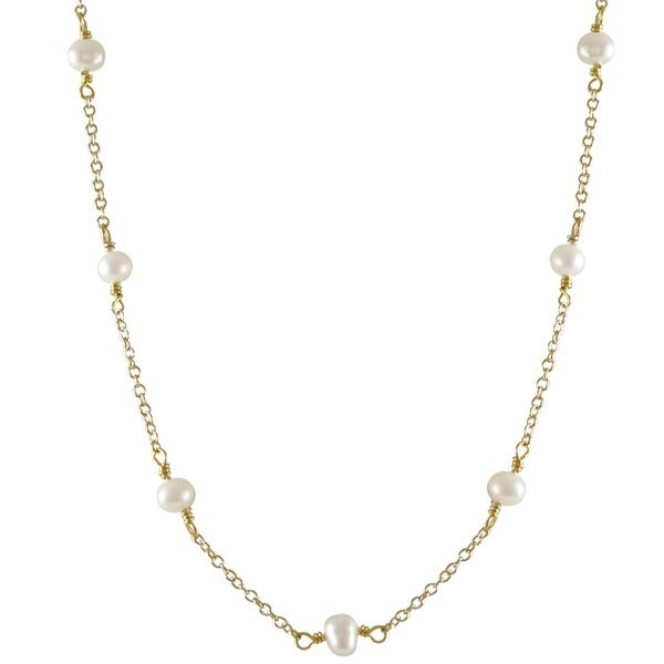 Gold Finish Baroque Freshwater Pearl Station Necklace