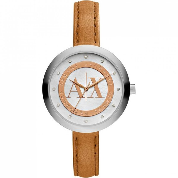 Armani Exchange Women's Diamond Mother Of Pearl Dial Brown Leather Watch AX4226