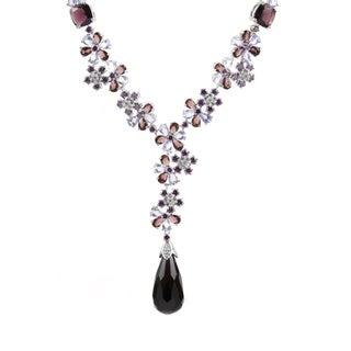 Purple & Blue Fancy Flower Necklace
