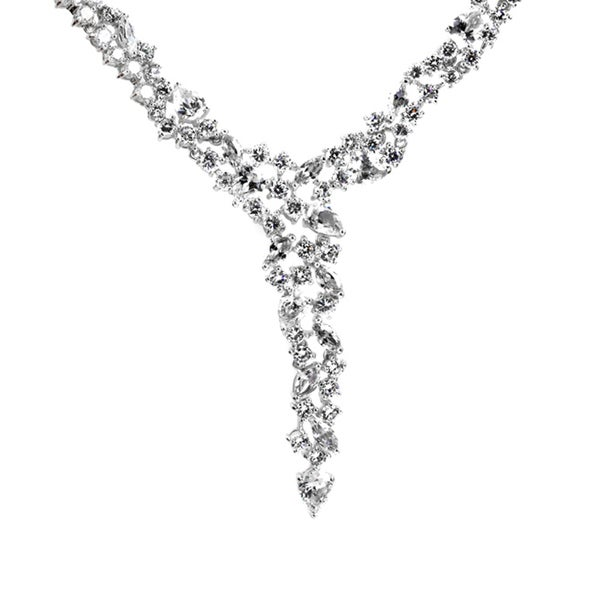 Formal CZ Cluster Y Necklace