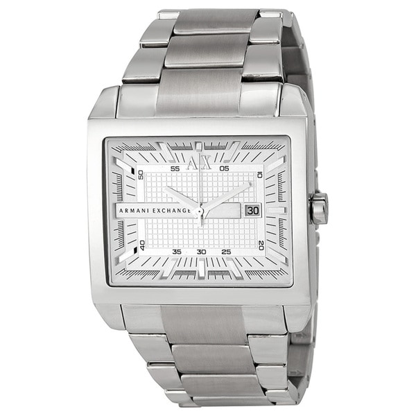 Armani Exchange Men's Analog Rectangular Silver Dial Silver-Tone Stainless Steel Bracelet Watch AX2201