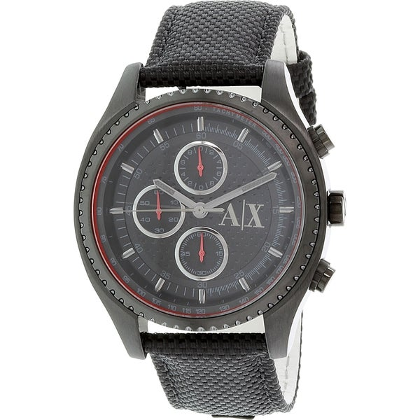 Armani Exchange Men's Chronograph Black Dial Black Nylon Watch AX1610