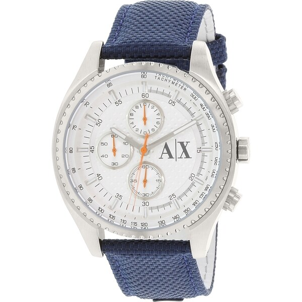 Armani Exchange Men's Chronograph Silver-Tone Dial Blue Nylon Watch AX1609